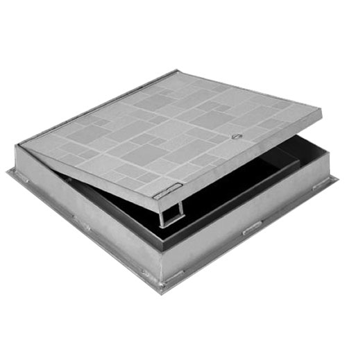 "Floor Access Door - FT-8050 24"" x 24"" Recessed for Ceramic Tile or Concrete, Aluminum"
