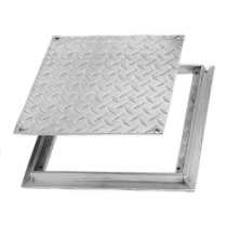 "Floor Access Door - FD-8060 12"" x 12"" Flush Diamond Plate, Removable Cover, Aluminum"