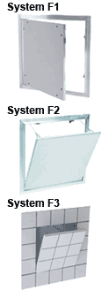 Precision engineered System F1, System F2 and System F3 Drywall Access Panels